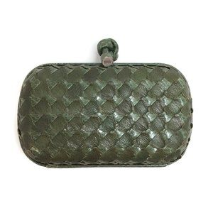 Bottega Veneta Woven Green Snakeskin Clutch
